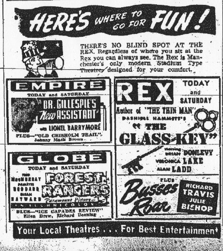 Ad Showing All Three Descoteaux Theatres
